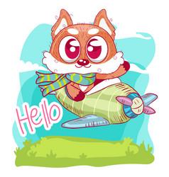 greeting card cute cartoon fox vector image