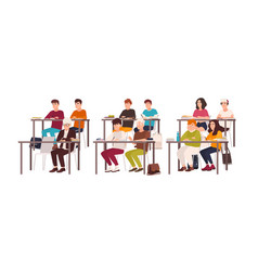 group pupils sitting at desks in classroom vector image