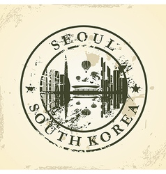 Grunge rubber stamp with Seoul South Korea vector