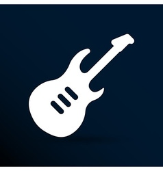 guitar icon with long shadow melody electric vector image