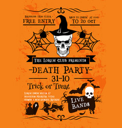 Halloween holiday poster with skull in witch hat vector