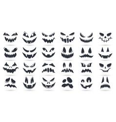 halloween pumpkins faces spooky ghost emoticons vector image