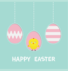 Happy easter text three painting egg hanging vector