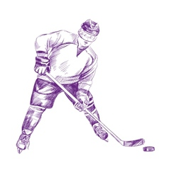 Hockey Player hand drawn llustration vector image