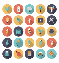 icons flat colors energy vector image