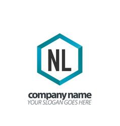 initial letter nl hexagon box creative logo black vector image