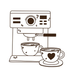 International day coffee machine and cups line vector