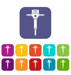 jackhammer icons set vector image