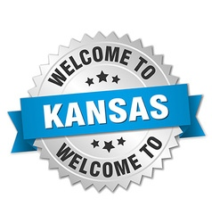 Kansas 3d silver badge with blue ribbon vector image
