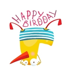 Kids Duck Playing Birthday Greeting Card Design vector image