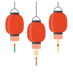 Lantern icon chinese or japanese red vector