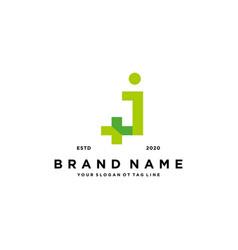 Letter j cross plus hospital medical logo design vector