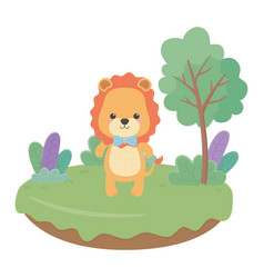 lion cartoon with bowtie design vector image