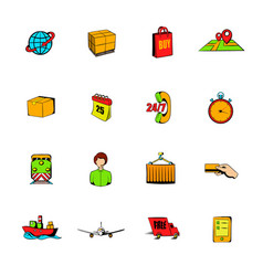 logistics comics icons set cartoon vector image