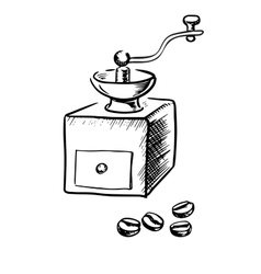 Manual coffee grinder with beans vector