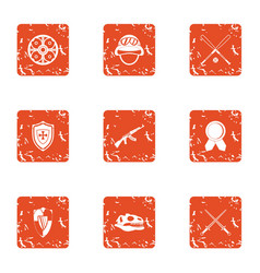 medieval way icons set grunge style vector image