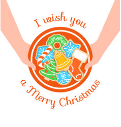 Merry christmas greeting with gingerbread cookies vector