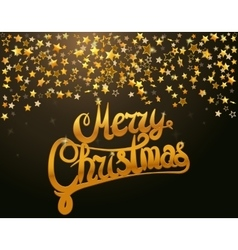 Merry Christmas lettering and stars vector image