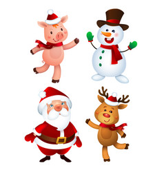 merry christmas santa claus pig snowman and vector image