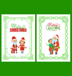 merry christmas winter holidays characters frames vector image