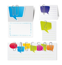 Metal paper clips and Colored paper speech bubbles vector image