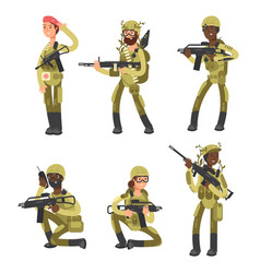 military man and woman cartoon characters isolated vector image
