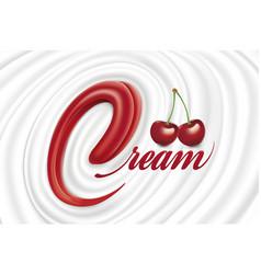 Milk yogurt cream swirl with tongue shape vector