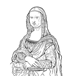 mona lisa painting black and white artwork for vector image