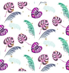 Monstera pink tropic plant leaves seamless pattern vector