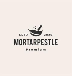 Mortar pestle leaf bowl hipster vintage logo icon vector