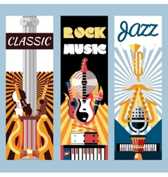 Music flat banners set vector image