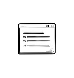 Open window with document hand drawn outline vector