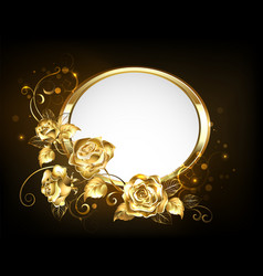 Oval banner with gold roses vector