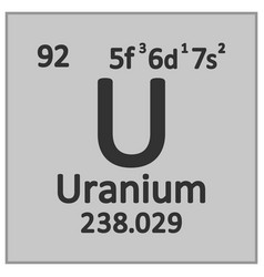 Periodic table element uranium icon vector