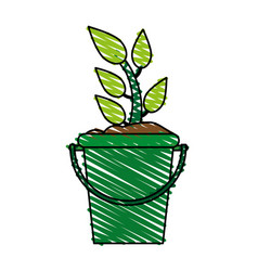 Plant in bucket icon image vector