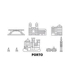 Portugal porto line travel skyline set portugal vector
