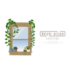 Potted plants and window wood vector