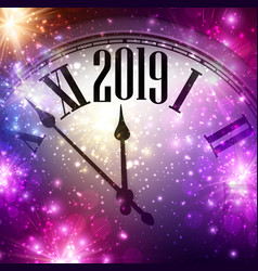 Purple shiny 2019 new year background with clock vector