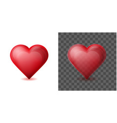 red heart isolated on white and transparent vector image