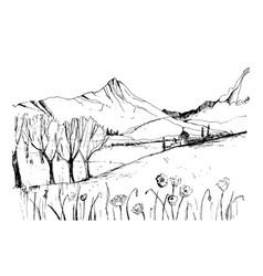 Remarkable georgian landscape sketch black and vector