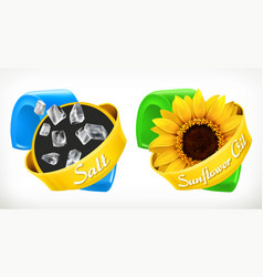 Salt sunflower oil labels 3d realistic package vector