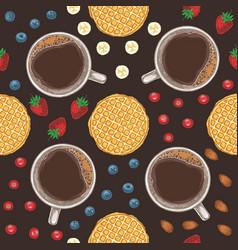 seamless pattern coffee fruits berries vector image