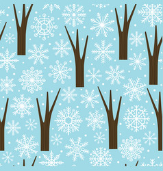 seamless pattern with snowflakes and trees vector image