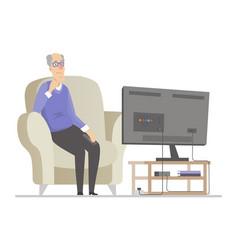 senior man watching tv - flat design style vector image