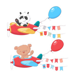 Set cartoon cute animals panda and bear on vector