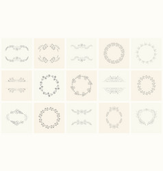 set of floral frames and wreaths with plant vector image