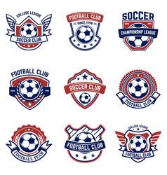 set soccer football emblems design element vector image