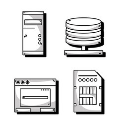 set technology data center service vector image