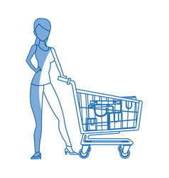 silhouette woman cart shopping bag commerce vector image