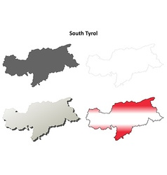 South Tyrol outline map set - Austrian version vector